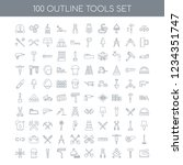 100 tools universal icons set... | Shutterstock .eps vector #1234351747