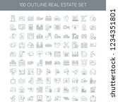 100 real estate universal icons ... | Shutterstock .eps vector #1234351801