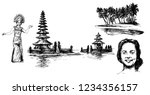 bali  indonesia. hand drawn set.