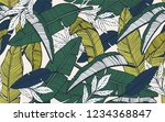 seamless tropical pattern with... | Shutterstock .eps vector #1234368847