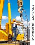 construction worker in uniform... | Shutterstock . vector #123437311