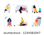 people spending weekend at home.... | Shutterstock .eps vector #1234382047