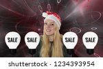 laughing  young girl with santa ... | Shutterstock . vector #1234393954