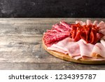 cold meat on cutting board on... | Shutterstock . vector #1234395787