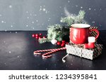 cup of tea on christmas... | Shutterstock . vector #1234395841