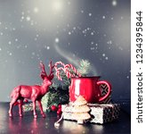 cup of tea on christmas... | Shutterstock . vector #1234395844