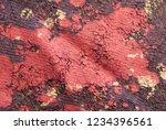 Grunge Paint Splatter on Textile Macro Photography - stock photo