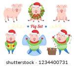 pig set. a set of cute... | Shutterstock .eps vector #1234400731