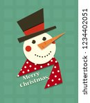 christmas snowman in a hat.... | Shutterstock .eps vector #1234402051