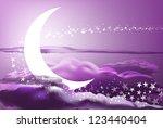 vector romantic scene with moon ... | Shutterstock .eps vector #123440404
