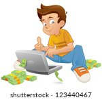 a young online entrepreneur... | Shutterstock .eps vector #123440467