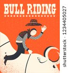 bull riding poster.vector... | Shutterstock .eps vector #1234405027