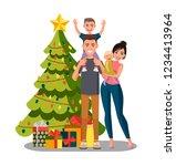 happy smiling family standing... | Shutterstock .eps vector #1234413964