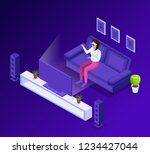isometric man  woman in virtual ...   Shutterstock .eps vector #1234427044