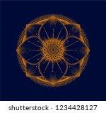 hand drawn gold lotus flower on ...   Shutterstock .eps vector #1234428127