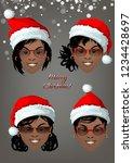 set of smiling faces of black... | Shutterstock .eps vector #1234428697
