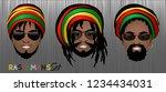 set of smiling faces of bearded ... | Shutterstock .eps vector #1234434031