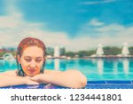 amazing woman swimming in the... | Shutterstock . vector #1234441801