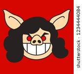 emoji with brunette pig woman... | Shutterstock .eps vector #1234444084