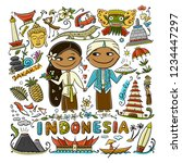 travel to indonesia. greeting... | Shutterstock .eps vector #1234447297