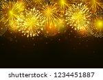 vector golden fireworks...   Shutterstock .eps vector #1234451887