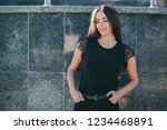 a brunette female with long... | Shutterstock . vector #1234468891