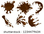 coffee and chocolate drips and... | Shutterstock .eps vector #1234479634