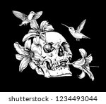 human skulls with a exotic... | Shutterstock .eps vector #1234493044