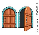 pixel art open closed door... | Shutterstock .eps vector #1234508011