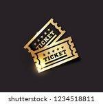 vector golden vintage ticket... | Shutterstock .eps vector #1234518811