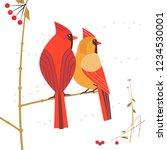 birdwatching icon. red northern ... | Shutterstock .eps vector #1234530001