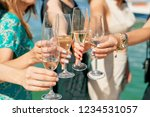 women drink champagne glasses... | Shutterstock . vector #1234531057