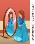 a vector illustration of girl... | Shutterstock .eps vector #1234544164
