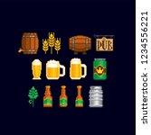 Beer Icon Set. Pixel Art. Old...