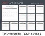 2019 calendar template  12... | Shutterstock .eps vector #1234564651