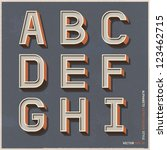 alphabet retro colour style.... | Shutterstock .eps vector #123462715