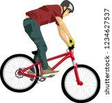 isolated man doing bike trick  | Shutterstock .eps vector #1234627537