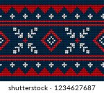 knitted christmas and new year... | Shutterstock .eps vector #1234627687