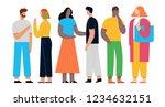 people discuss social network ... | Shutterstock .eps vector #1234632151
