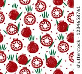 seamless pattern with fruits.... | Shutterstock .eps vector #1234658761