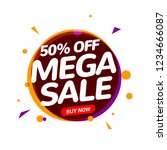 mega sale 50 percent speech... | Shutterstock .eps vector #1234666087