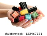 woman hands with nail polishes... | Shutterstock . vector #123467131