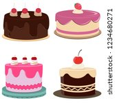 set of colorful birthday cakes... | Shutterstock .eps vector #1234680271