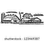 farmhouse and barn   retro... | Shutterstock .eps vector #123469387