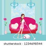 girl with wireless vacuum... | Shutterstock . vector #1234698544
