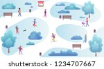 people resting and playing in... | Shutterstock .eps vector #1234707667
