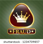 golden badge with queen crown... | Shutterstock .eps vector #1234709857