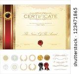 luxury certificate template | Shutterstock .eps vector #123471865