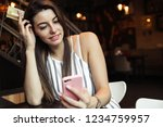 young pretty woman blogger in... | Shutterstock . vector #1234759957