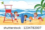 people at the summer beach... | Shutterstock .eps vector #1234782007
